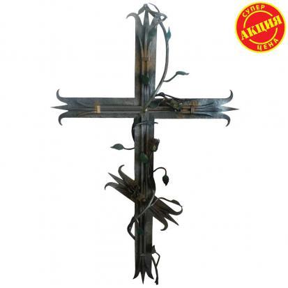 Кованое украшение Крест с розами
